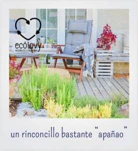 macetero con plantas para la decoración de jardines con madera reciclada