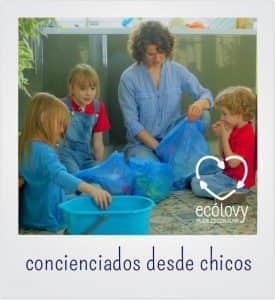 retirada y reciclaje de residuos para aprender con niños