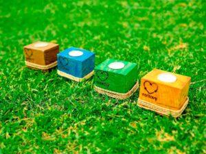 portavelas de madera reciclada de ecólovy muebles auxiliares