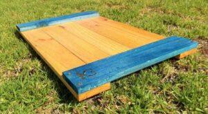 bandeja de madera reciclada de ecólovy muebles auxiliares