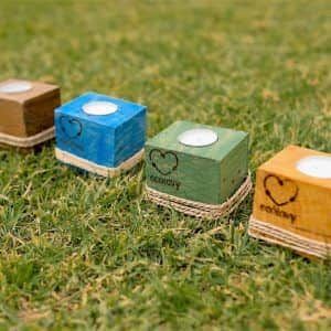 portavelas de madera reciclada ecólovy